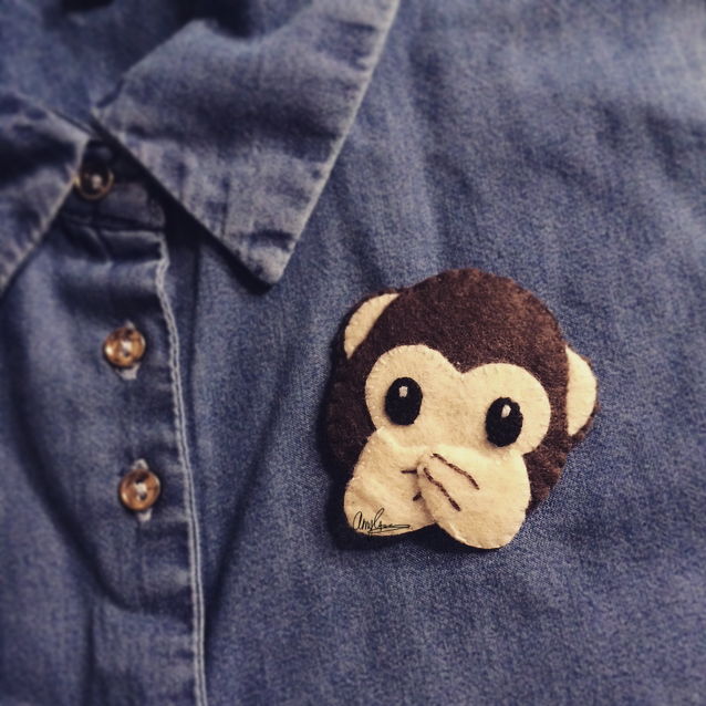 Emoji Monkey Covering Mouth Brooch